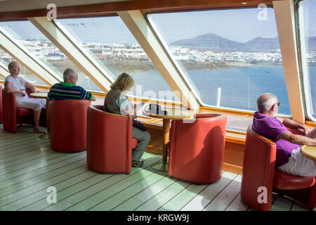 LANZAROTE, SPAIN -  7th Nov 2017: Passengers on board the Naviera Armas ferry that travels between Playa Blanca - Stock Photo