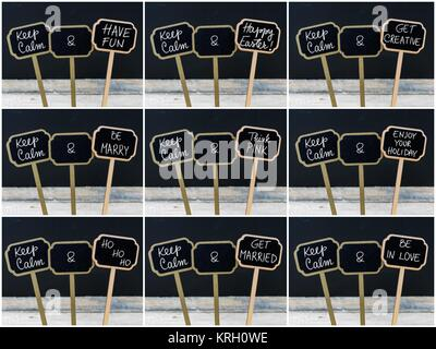 Photo collage of Keep Calm messages written with chalk on mini blackboard labels - Stock Photo