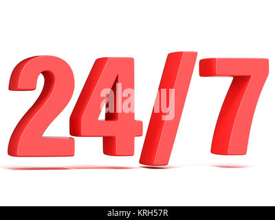 Red 24 hours 7 days a week sign. 3D - Stock Photo