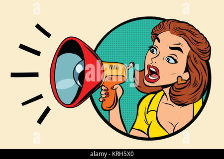 Comic woman agitator shouts into a megaphone - Stock Photo
