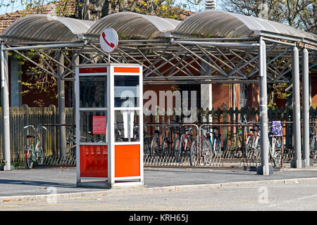 a phone booth. despite globalization and the spread of mobile phones in some places there are still phone booths - Stock Photo