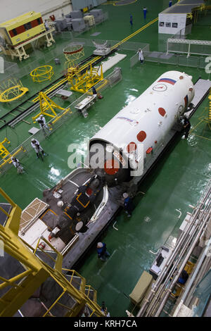2014-09-18-13-19-55 At the Integration Facility at the Baikonur Cosmodrome in Kazakhstan, the Soyuz TMA-14M spacecraft - Stock Photo