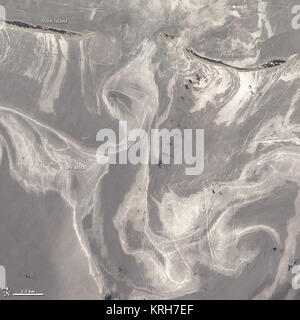 NASA image acquired June 26, 2010  As of June 27, 2010, the entire gulf-facing beachfront of several barrier islands - Stock Photo