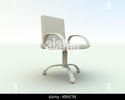 3D rendered office furniture. Surreal white, soft toned HDRI rendering. - Stock Photo
