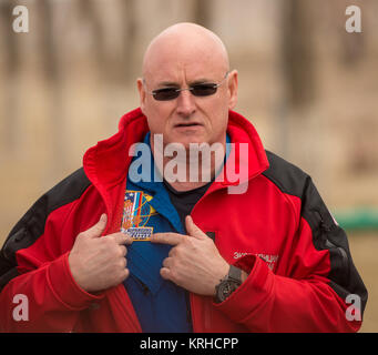 Expedition 43 NASA Astronaut Scott Kelly describes his One-Year mission patch to members of the press during media - Stock Photo