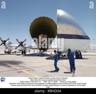 Members of the flight and ground crews prepare to unload equipment from NASA's B377SGT Super Guppy Turbine cargo - Stock Photo