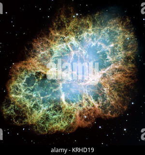 *Description*:  This is a mosaic image, one of the largest ever taken by NASA's Hubble Space Telescope of the Crab - Stock Photo