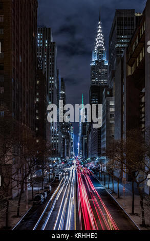 Manhattan view from Tudor City Bridge with Chrysler Building And Bank Of America tower  In Shot, New York City, - Stock Photo
