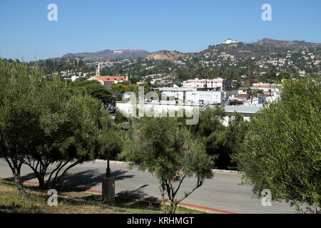 A view towards Griffith Park & observatory from Holly Hock House looking over the Los Feliz neighbourhood of Los - Stock Photo