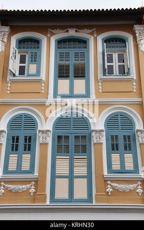 Shophouses at Chinatown in Singapore - Stock Photo