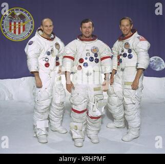 Official portrait of NASA Apollo 16 lunar landing mission prime crew members American astronauts Thomas Mattingly - Stock Photo
