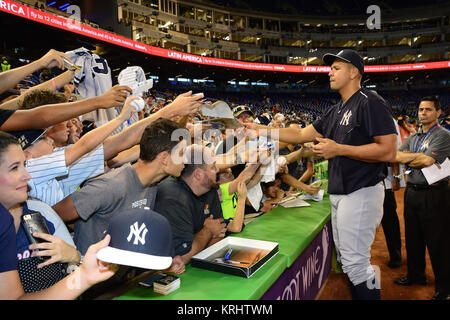 MIAMI, FL - JUNE 16: Alex Rodriguez of the New York Yankees during practice before action against the Miami Marlins - Stock Photo
