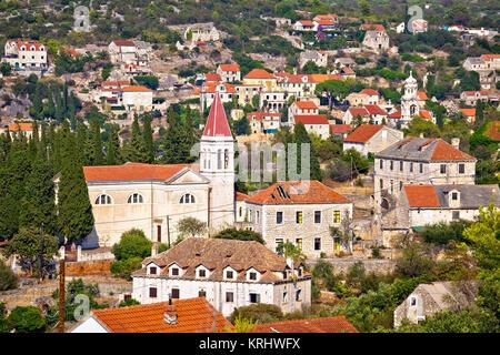 Bobovisce and Lozisca village on Brac island - Stock Photo