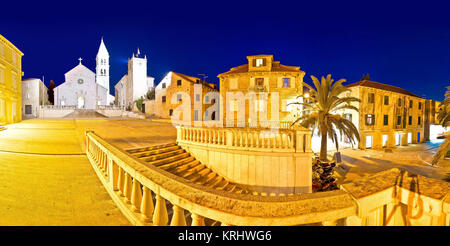Town of Supetar on Brac island evening panorama - Stock Photo