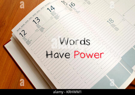Words have power text concept on notebook - Stock Photo