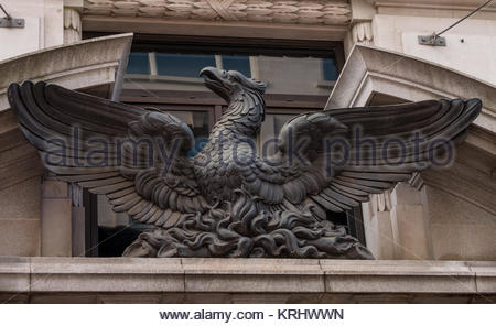 Phoenix bird sculpture a symbol of the City of London, King William Street, City of London, London, England, United - Stock Photo