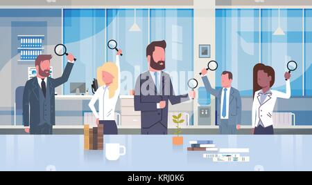 Group Of Business People Holding Magnifying Glass Working In Modern Office Concept Team Of Businessmen And Businesswomen - Stock Photo