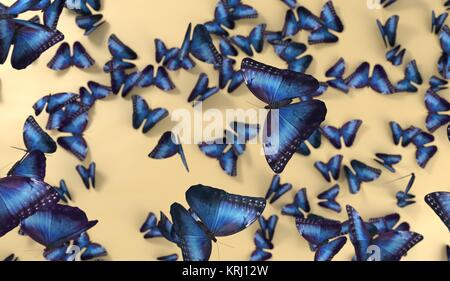 render many of butterlfy on yellow background - Stock Photo