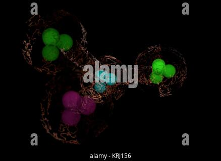 Colorful molecule with electric cloud of electrons and energetic links isolated on black 3d illustration - Stock Photo