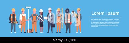 Costruction Workers Team Industrial Technicians Mix Race Man And Woman Builders Group Horizontal Banner - Stock Photo