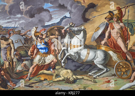 Baroque battle scene painting in the royal apartments - Royal Palace of Caserta ('Reggia di Caserta'), 18th century, - Stock Photo