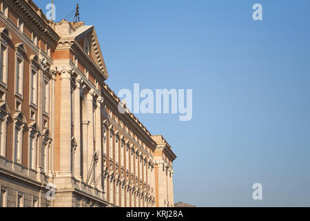 Royal Palace of Caserta ('Reggia di Caserta'), 18th century, Naples, Italy - impressive facade at sunset with blue - Stock Photo