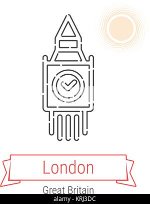London, Great Britain Vector Line Icon with Red Ribbon Isolated on White. London Landmark - Emblem - Print - Label - Stock Photo