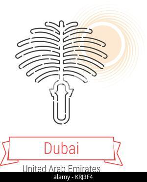 Dubai, United Arab Emirates Vector Line Icon with Red Ribbon Isolated on White. Dubai Landmark - Emblem - Print - Stock Photo