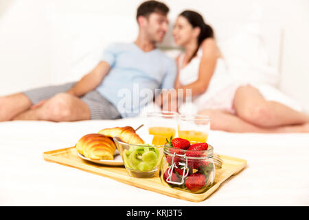 Breakfast on bed - Stock Photo
