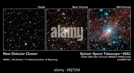 This image mosaic shows the same patch of sky in various wavelengths of light. While the visible-light image (left) - Stock Photo