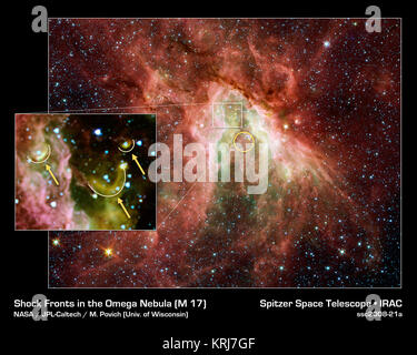 NASA's Spitzer Space Telescope has captured a new, infrared view of the choppy star-making cloud called M17, also - Stock Photo