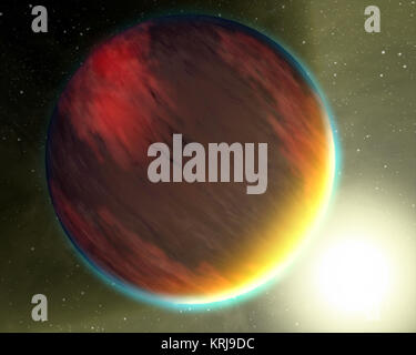 The basic chemistry for life has been detected in a second hot gas planet, HD 209458b, depicted in this artist's - Stock Photo