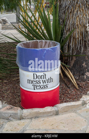 Langtry, Texas - A trash can at the Texas Department of Transportation's Judge Roy Bean Visitor Center. - Stock Photo