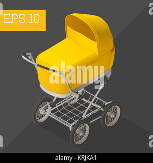 baby carriage isometric vector illustration - Stock Photo