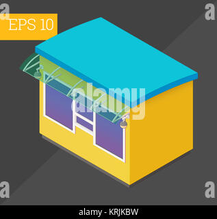 counter kiosk isometric vector illustration - Stock Photo