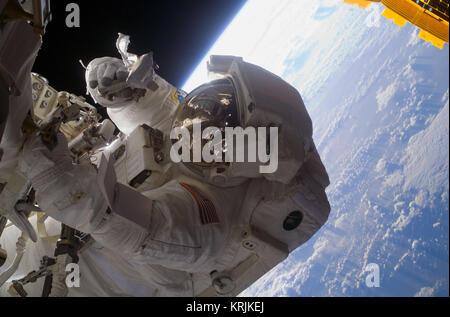 NASA International Space Station Space Shuttle Endeavour STS-126 prime crew member American astronaut Steve Bowman - Stock Photo