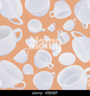different coffee cups abstract background - Stock Photo