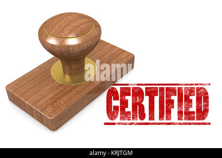 Red certified wooded seal stamp - Stock Photo