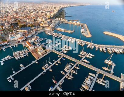 Aerial view of Limassol Marina, Cyprus - Stock Photo