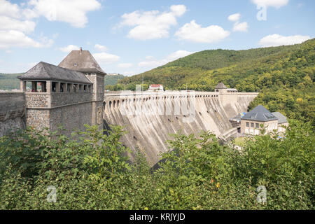 View of the Edersee Dam in Waldeck-Frankenberg in Germany. - Stock Photo