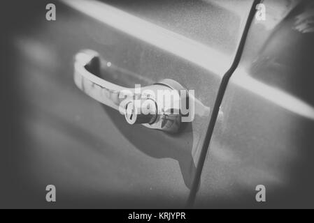 close up on old vintage car handle,black and white - Stock Photo