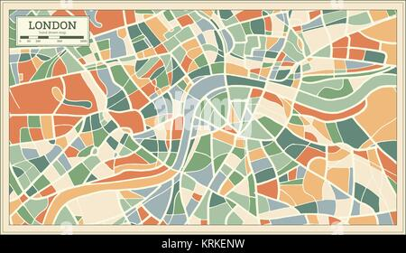 London England Map in Abstract Retro Style. Vector Illustration. - Stock Photo