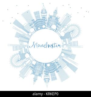 Outline Manchester England City Skyline with Blue Buildings and Copy Space. Vector Illustration. Business Travel - Stock Photo
