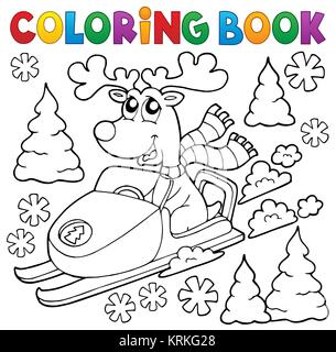 coloring book reindeer in snowmobile stock photo