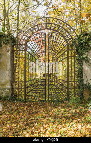 Locked iron gate in the autumn park. Vertically. - Stock Photo