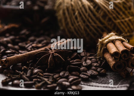 Coffee Beans with Condiment - Stock Photo