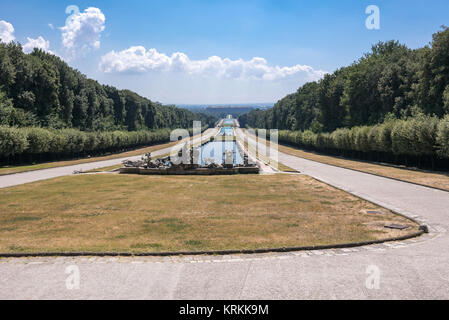 promenade in the park at the royal palace of caserta - Stock Photo