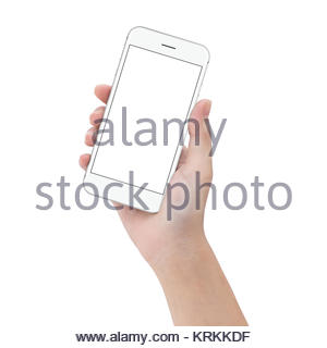 close-up hand hold phone isolated on white, mock up smartphone blank screen easy adjustment with clipping path - Stock Photo