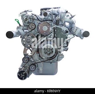 Modern heavy duty truck diesel engine isolated on white background - Stock Photo
