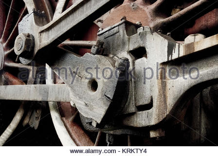Close up details of a retro train wheel. - Stock Photo